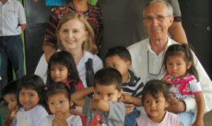 Susan and Richard Schmaltz with children of Camino Seguro in Guatemala