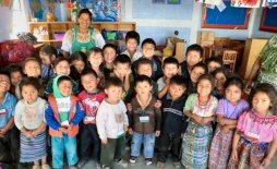 Children with their teacher at their preschool in Sacala, Guatemala